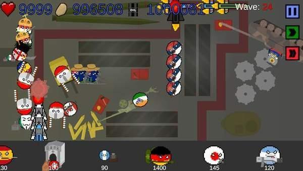 国家球塔防御游戏